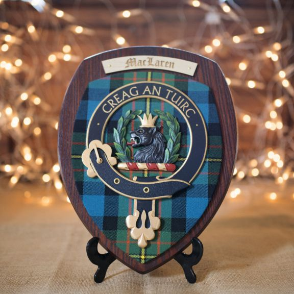 scottish woodcarver clan plaque with lights