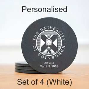 white personalised university of edinburgh slate coasters
