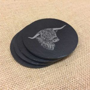 highland cow scottish slate coasters
