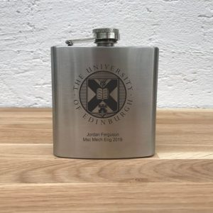 university of edinburgh hip flask personalised silver
