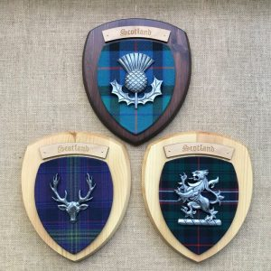 three scottish pewter wall plaques