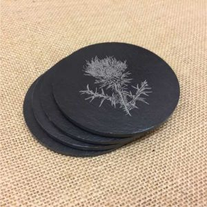 thistle scottish slate coasters
