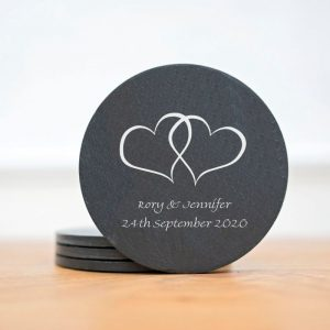 wedding slate coasters hearts