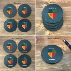 standard and personalised HJRFC coasters on desk
