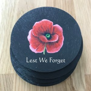 Regimental Coasters with poppy scotland design