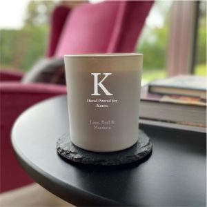 grey initial candle
